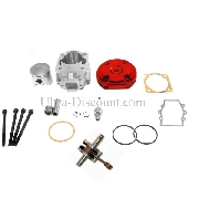Kit 53cc 4 transferts + albero motore asse 10 mm (tipo B, rosso)